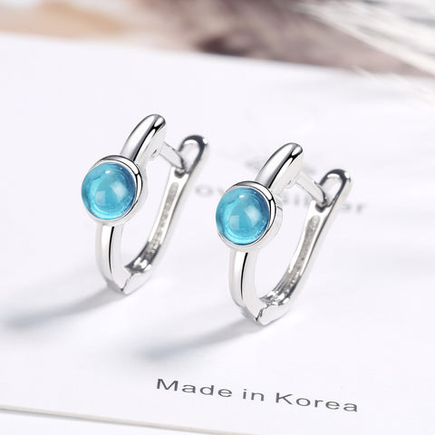 Fashion Silver Color Stud Earrring Blue Crystal Stud Earrings For Women Korea Silver Ear Jewelry 2020 New