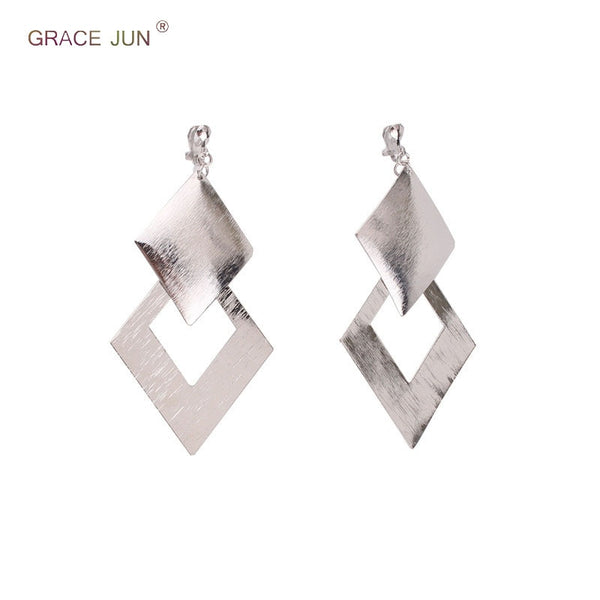 GRACE JUN Luxury Fashion Large Rectangle Shape Geometric Clip on Earrings Non Piercing for Women Pom Statement No Hole Earrings