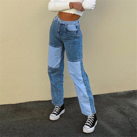 Patchwork Baggy High Waist Jeans 2020 Women Vintage Denim Streetwear Female Ripped Wide Leg Joggers Straight Pants