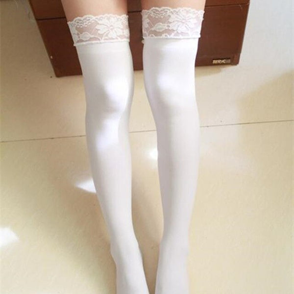 Women's Sexy Stockings Large Size Lace Top Hold Up Thigh High Stockings Medias Female 80D Non-slip Silicone Stockings Pantyhose