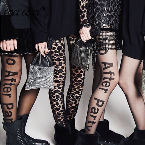 Women's No After Party Hosiery Tight High Waisted Pantyhose Semi Black Transparent Punk Sexy Letters Tattoo Tights Stockings