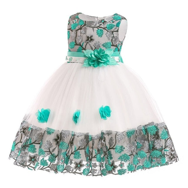 Kids dress for girls Boutique Embroidered Flower Princess Dress summer 3-10 years children flower girl dress