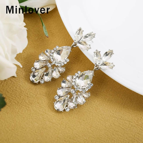 Minlover Cute Teardrop Shiny Crystal Small Dangle Bridal Earrings Wedding Jewelry Sweet Flower Earrings for Women MEH1705