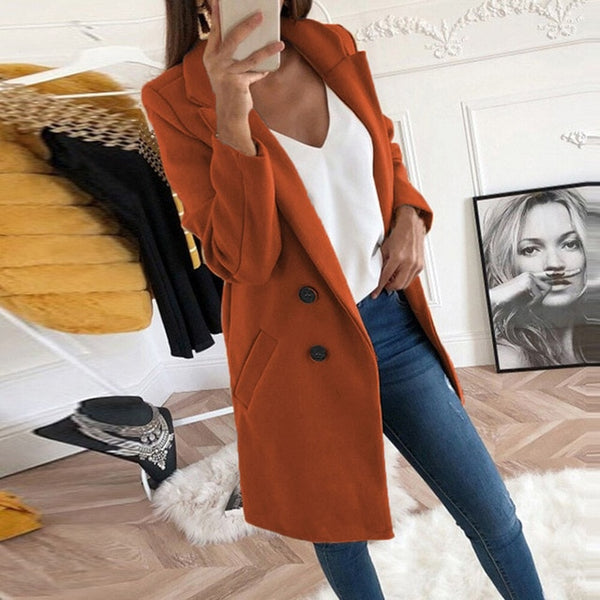 2020 Turn-Down Collar Coat Women  Long Sleeve Warm Long Coat Autumn Winter Wool Women Jackets Coat Big Size Jackets Big Size 5XL