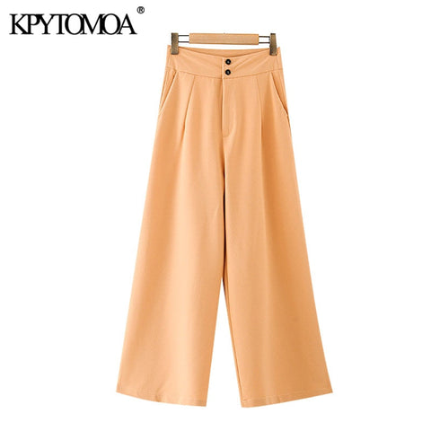 KPYTOMOA Women 2020 Fashion Side Pockets Straight Pants Vintage High Waist Zipper Fly Female Ankle Trousers Mujer