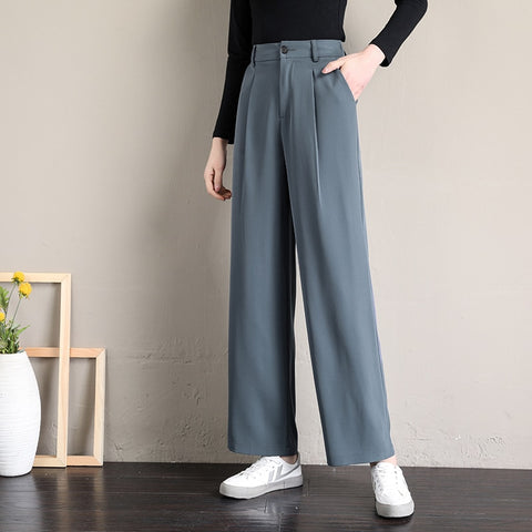 women pants women's full length simple and elegant slim women's straight trousers of  quality female solid loose
