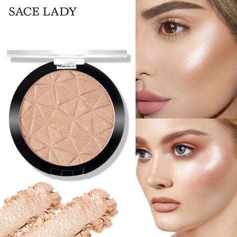 SACE LADY Highlighter Powder Glitter Palette Makeup Glow Face Shimmer Illuminator Make Up Highlight Pallete Cosmetics Wholesale
