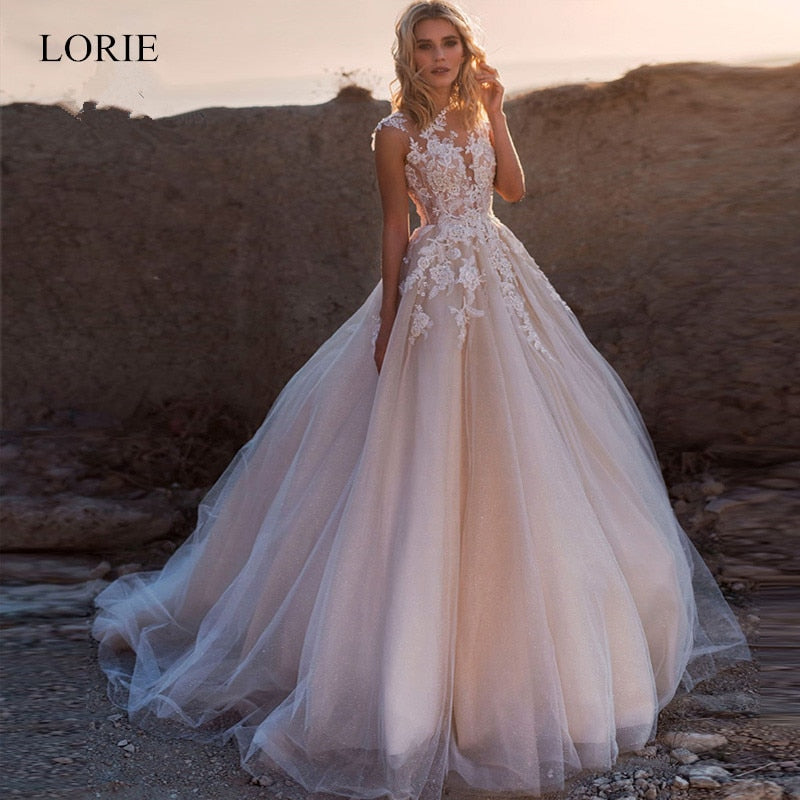 LORIE 2020 Scoop Lace Applique A Line Wedding Dresses Sleeveless Tulle Boho Bridal Gowns Long Train Elegant Princess Dresses