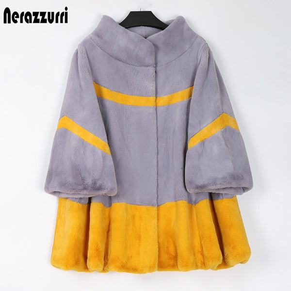 Nerazzurri Winter patchwork faux fur coat women stand collar 3/4 sleeve Yellow and gray color block light furry jacket women 7xl
