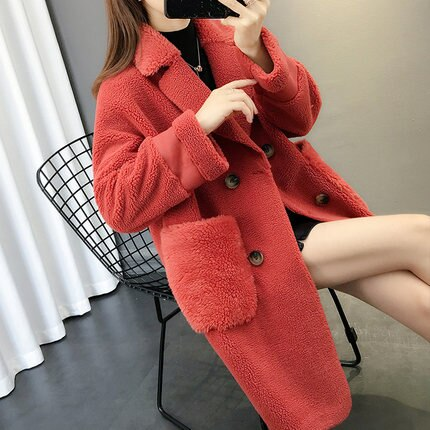 2020 Autumn Winter New Fur Coats Women Granule Velvet Coat Double Breasted Long Fur Coat Fashion Loose lambswool Ladies Overcoat