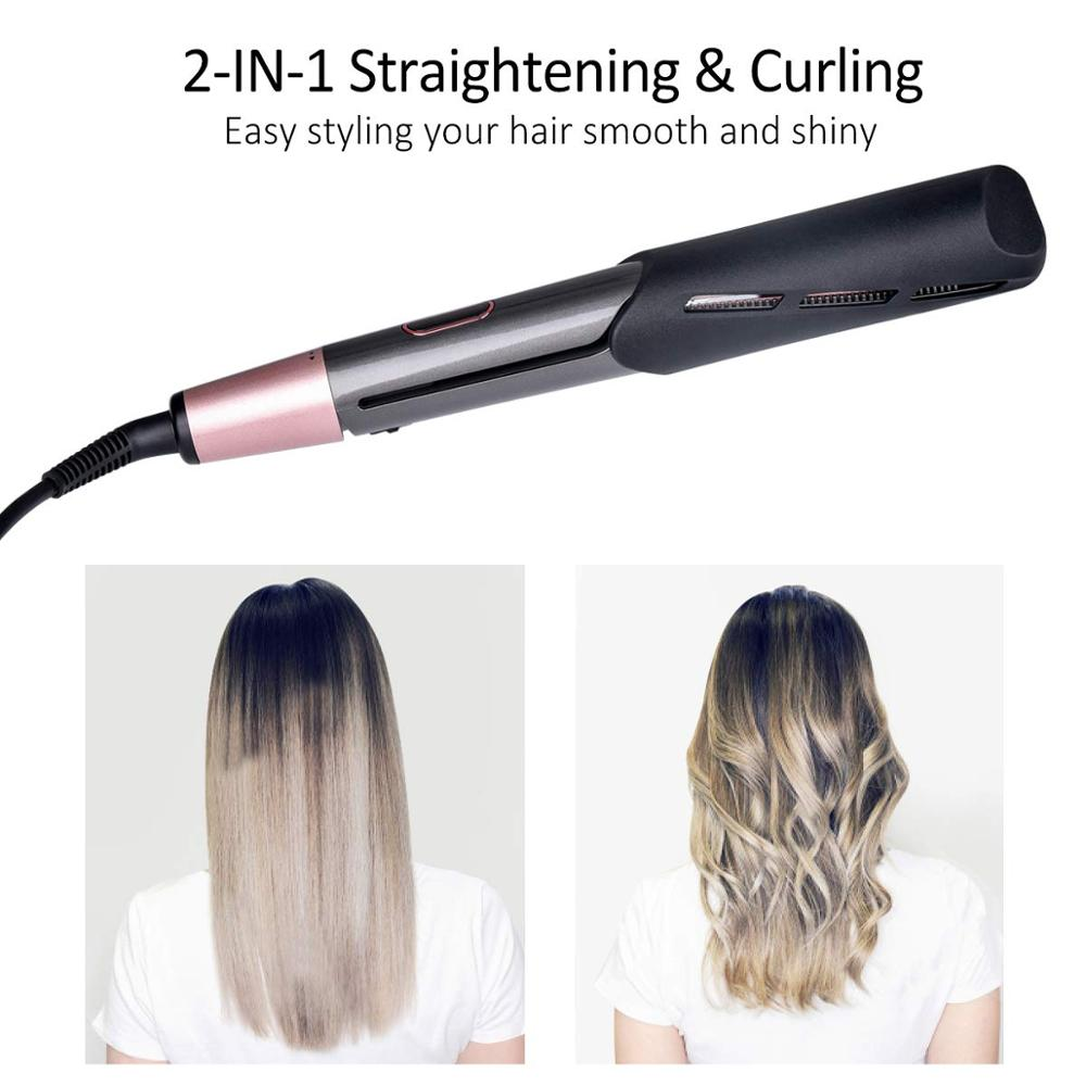 Professional 2 In 1 Twist Hair Curling & Straightening Iron Hair Straightener Hair Curler Wet & Dry Flat Iron Hair Styler Tools