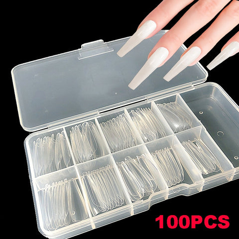 Wholesale 100pcs/Box Press on False Nails Long Coffin Clear Stiletto False Nails Tips Full Cover DIY Acrylic Fake Nails 10 Sizes