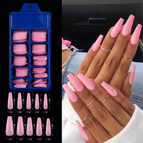 100pcs Professional Fake Nail Tips Coffin Long Ballerina Full Cover Nail Art 10 Sizes Colorful Press on Nails Manicure Soft Box