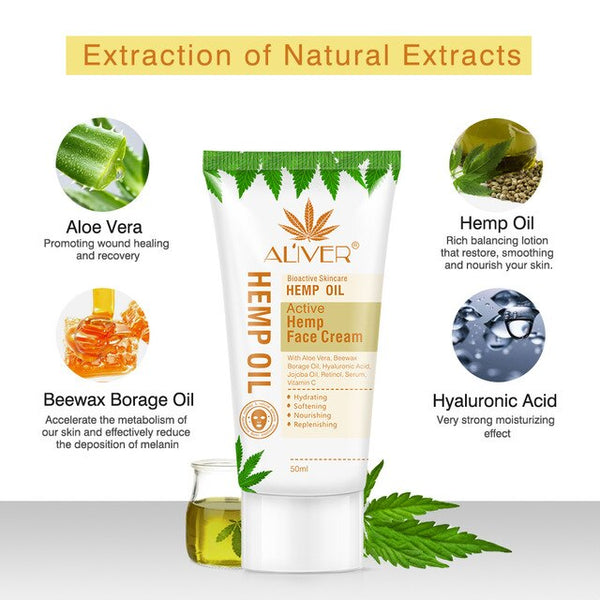 Hemp oil face cream Whitening Moisturing Anti wrinkle freckle melasma Retinol Hyaluronic Acid Serum Day Creme SkinCare