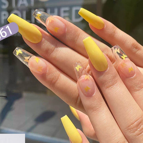 24pcs/Set Long Ballerina Fake Nails Yellow Butterfly Pattern Square Nail Decal False Nails Coffin Shaped Full Nail Art Tips