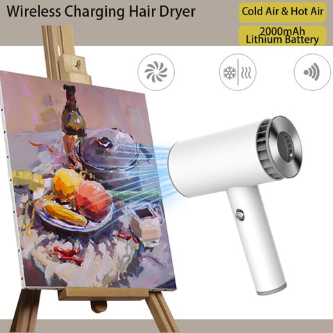 Electric Hair Dryer Portable Wireless USB Rechargeable Quick Dry Low Noise Blow Dryer Smart Cordless Travel Hair Dryer 2-Mode