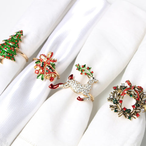 Metal Christmas Tree Napkin Rings Bow Flower Wreath Mouth Ring Wedding Banquet Hotel Table Supplies Circle Decoration Gifts