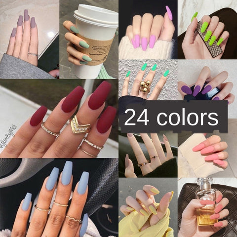 Nail Art Long Fake Nails Matte Ballet Tips Press on False with Glue Coffin Stick Display Set Full Cover Artificial Designs Kiss