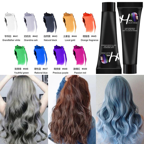 LAKIMU Hair Tint Colorant Semi Permanent Grandma Ash Hair Dye Wax Hair Cream Color Dye Paint No Odor Hair Dye Tint Colorant