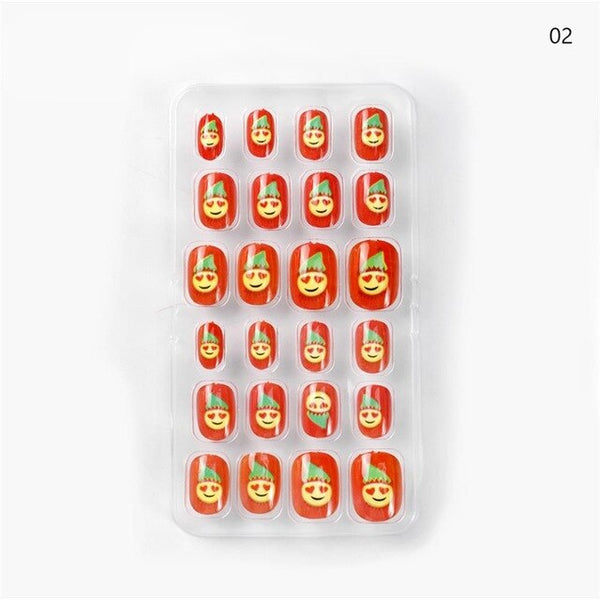 24PCS/Lot Children Candy False Nail Tips Cartoon Full Cover Kid Glue Self Fake Nail Art for Girls DIY Manicure Tips Nails Decora