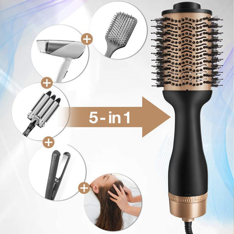Professional One Step Hair Dryer and Volumizer Blow Hairdryer With Hair Styler Straightener Curling Iron Comb Brush