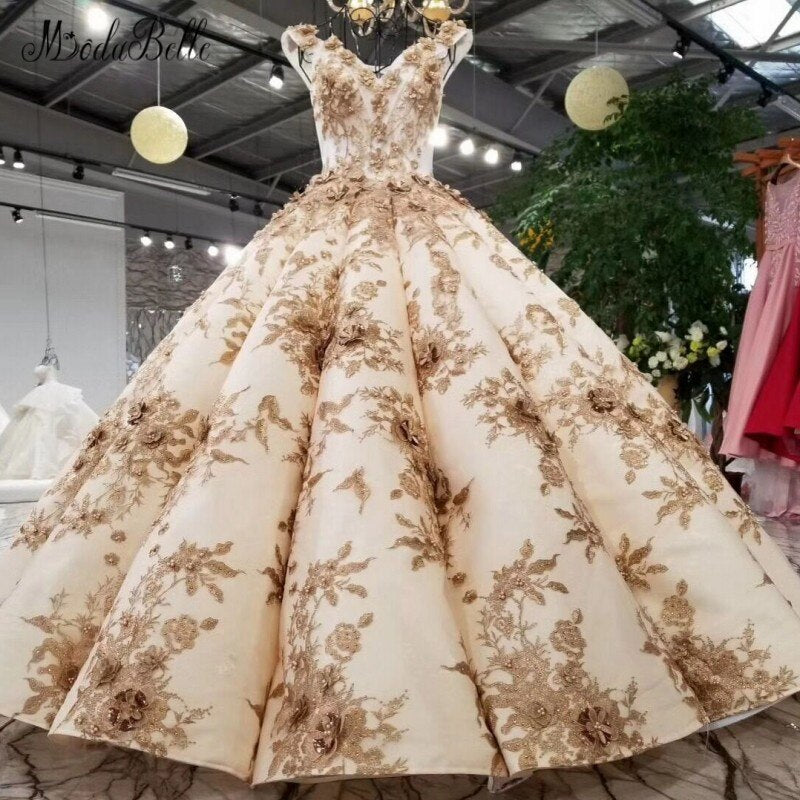 Modabelle Deluxe Champagne Gold Bridal Wedding Dress 3D Flower Robe De Mariee Pearls Embroidery Backless V Neck Ball Gown 2018