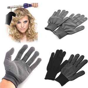 2Pcs Professional Heat Resistant Glove Hair Styling Tool For Curling Straight Flat Iron Black Heat Glove For Curling Iron