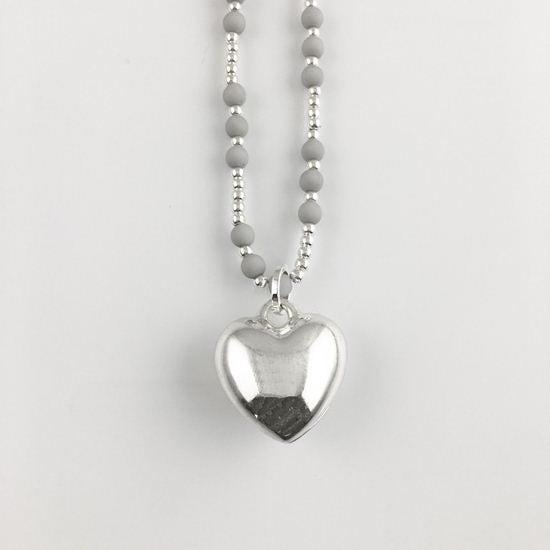Lagenlook Silver and Grey Mini Bead Heart Necklace .code N76541