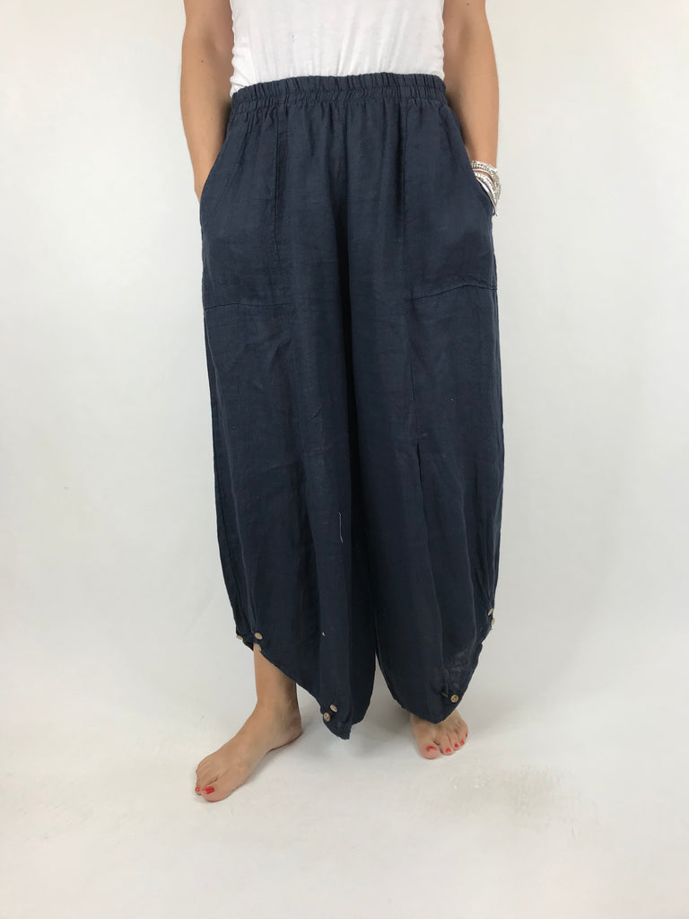 Lagenlook Linen Button Summer Trouser in Navy. code 5672
