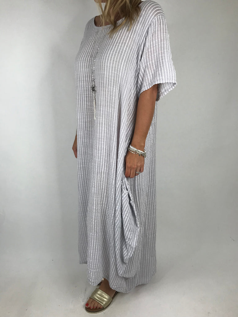 Lagenlook Maria Pinstripe Summer Tunic Dress in pale Grey. code 5299