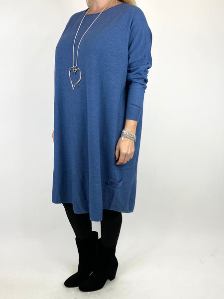 Lagenlook Patsy Button tab detail jumper in Denim. code 2566