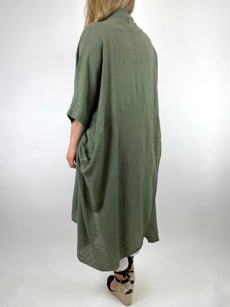 Lagenlook Cotton Wrap Dress Top in Khaki. code 8307