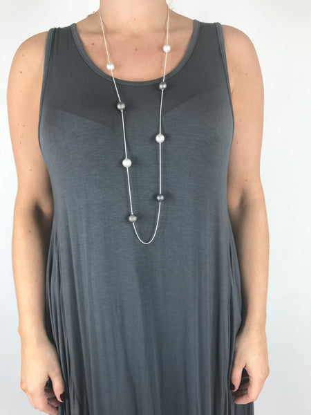 Lagenlook Silver & Charcoal Ball Drop Necklace .code skn2883