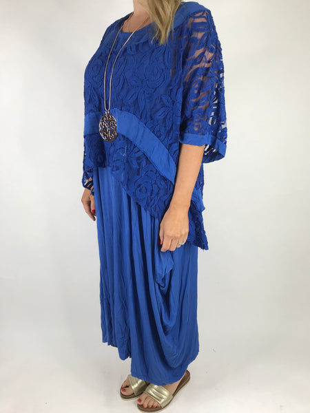 Lagenlook Lace Poncho Top in Royal Blue.code 1452