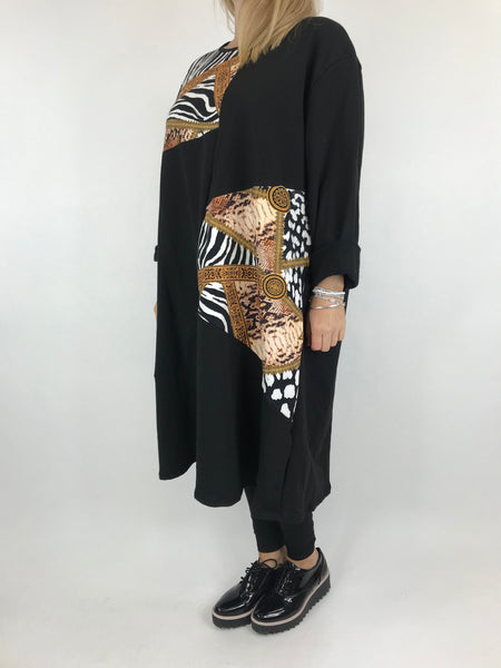 Lagenlook Donny Chain Print Patch Tunic in Black. code AB610