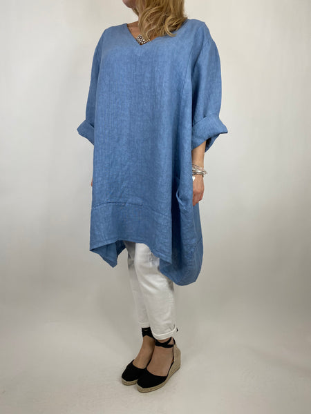 Lagenlook Mykonos V-neck Premium Linen Top in Denim . code 88176