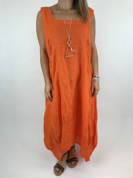 Lagenlook Square neck Linen Tunic Dress Top in Orange. code 5698