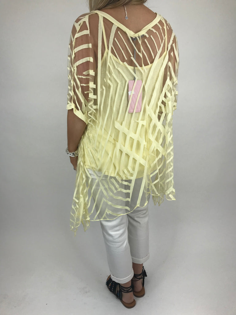 Lagenlook Lazer cut Net Layering Top in Lemon. code 18042