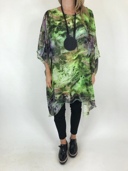 Lagenlook Cosmic Silk Poncho Top in lime. code 1727
