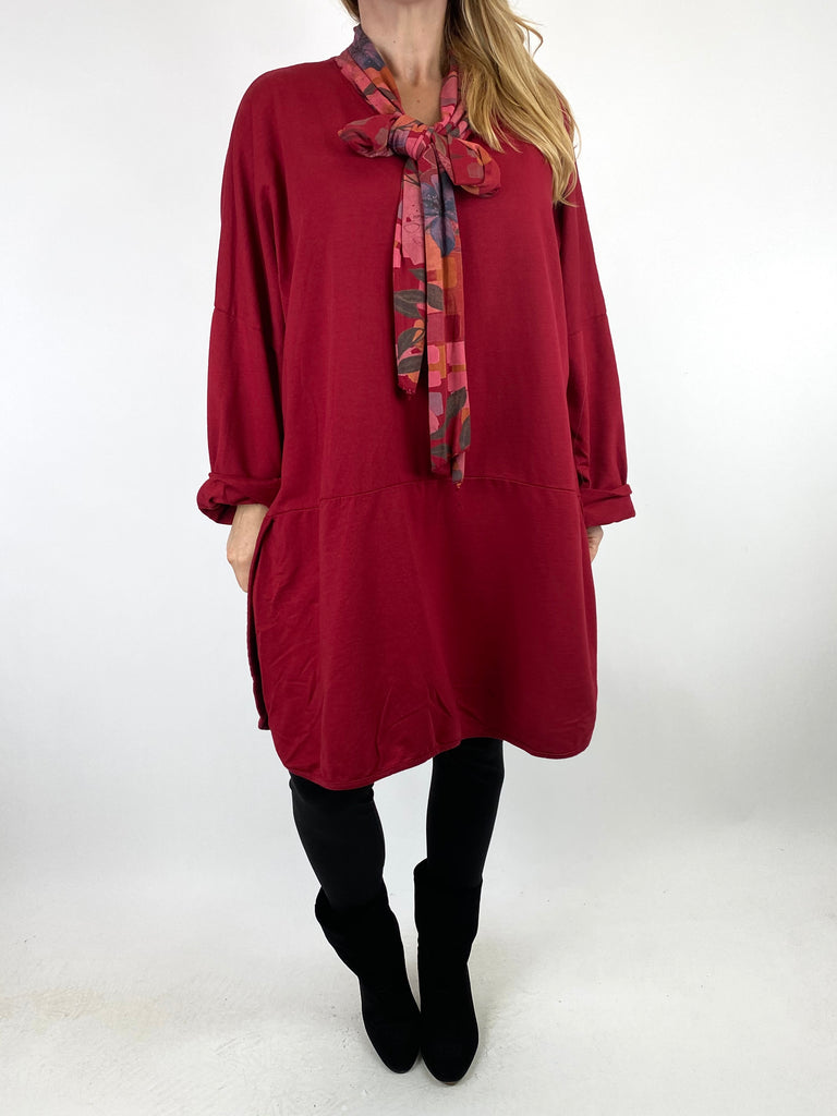 Lagenlook Alice Scarf Button Top in Wine. code 10559