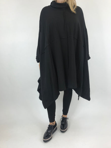 Lagenlook Crawley Cowl Neck Oversized Top in Black. code AB128y