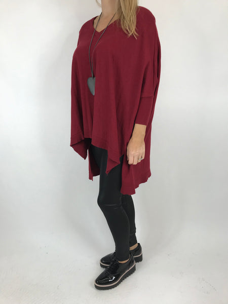 Lagenlook Clare Jumper In Wine. code 00001