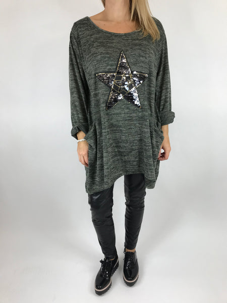 Lagenlook Star  Brushed Fleck Tunic In Khaki. code 74766