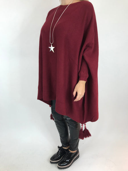 Lagenlook Ella Tassel Jumper in Wine. code 5414