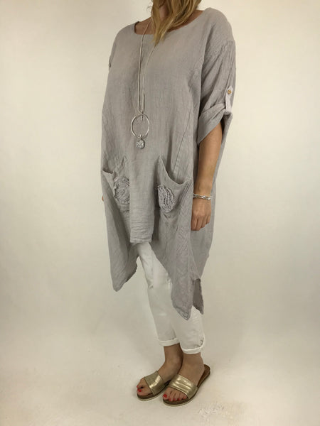 Lagenlook Cheesecloth Swirl pocket Linen in Pale Grey. code 5803