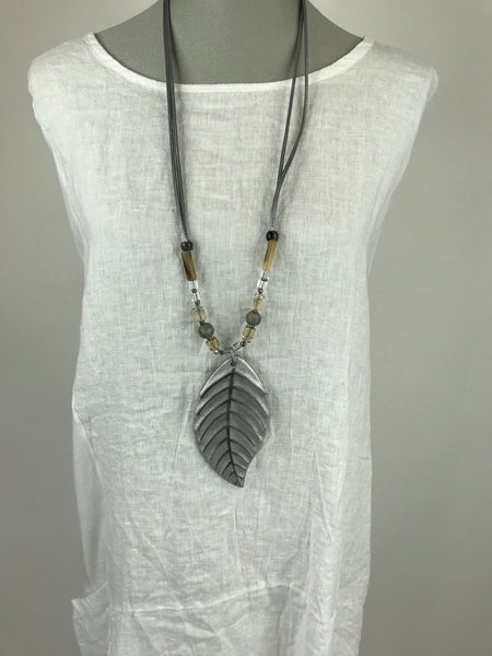 Lagenlook  Grey leaf Resin Necklace . code Js011