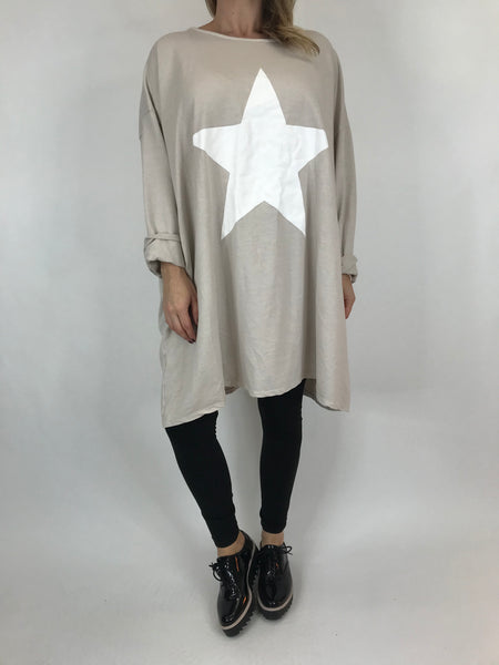 Lagenlook Solo Star Print Sweatshirt Top Tunic in Cream. Code 9482 - Lagenlook Clothing UK
