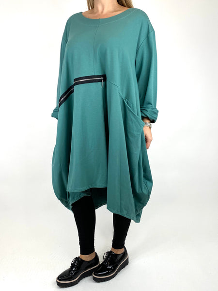 Lagenlook Canham Cotton Zip Side tunic in Lagoon. code 91113 - Lagenlook Clothing UK