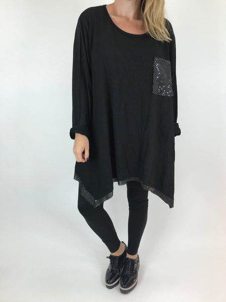 Lagenlook Frankie Sparkle Top in Black. Code AB110