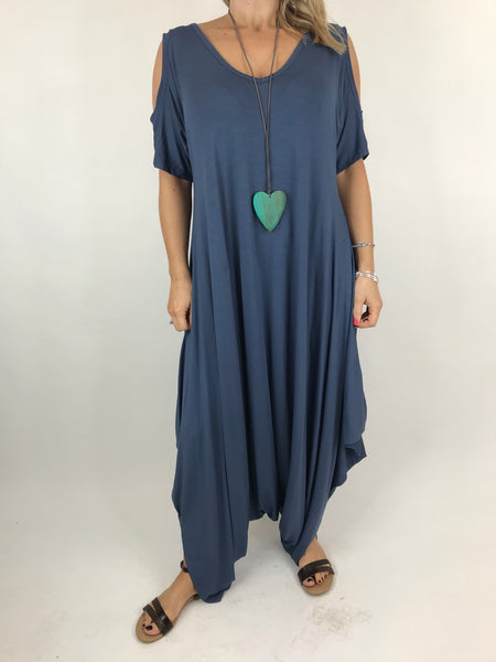 Lagenlook Made in Italy Jersey Jump Suit in Denim Blue. code 1544